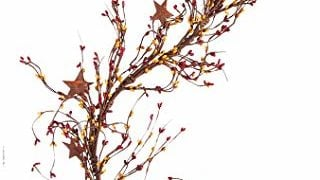 CWI Gifts Pip Berry and Star Garland, 40-Inch, Burgundy/Old Gold