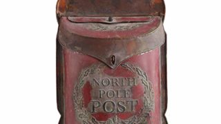 Creative Co-Op Distressed Red North Pole Post Tin Box