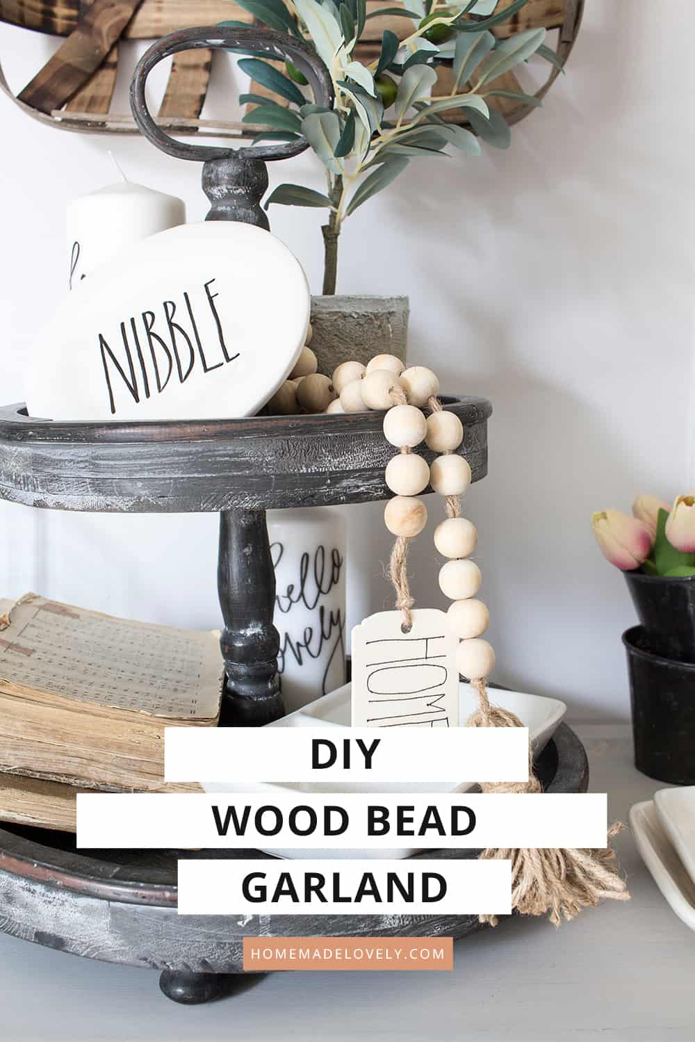 Diy Wood Bead Garland With Tassels Tag Perfect For Boho Or Farmhouse Decor