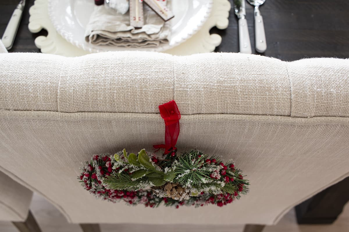 how to pin a wreath on a chair