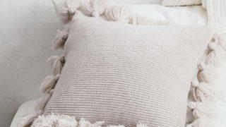 Cushion Cover with Pom Pom Lantern Tassels
