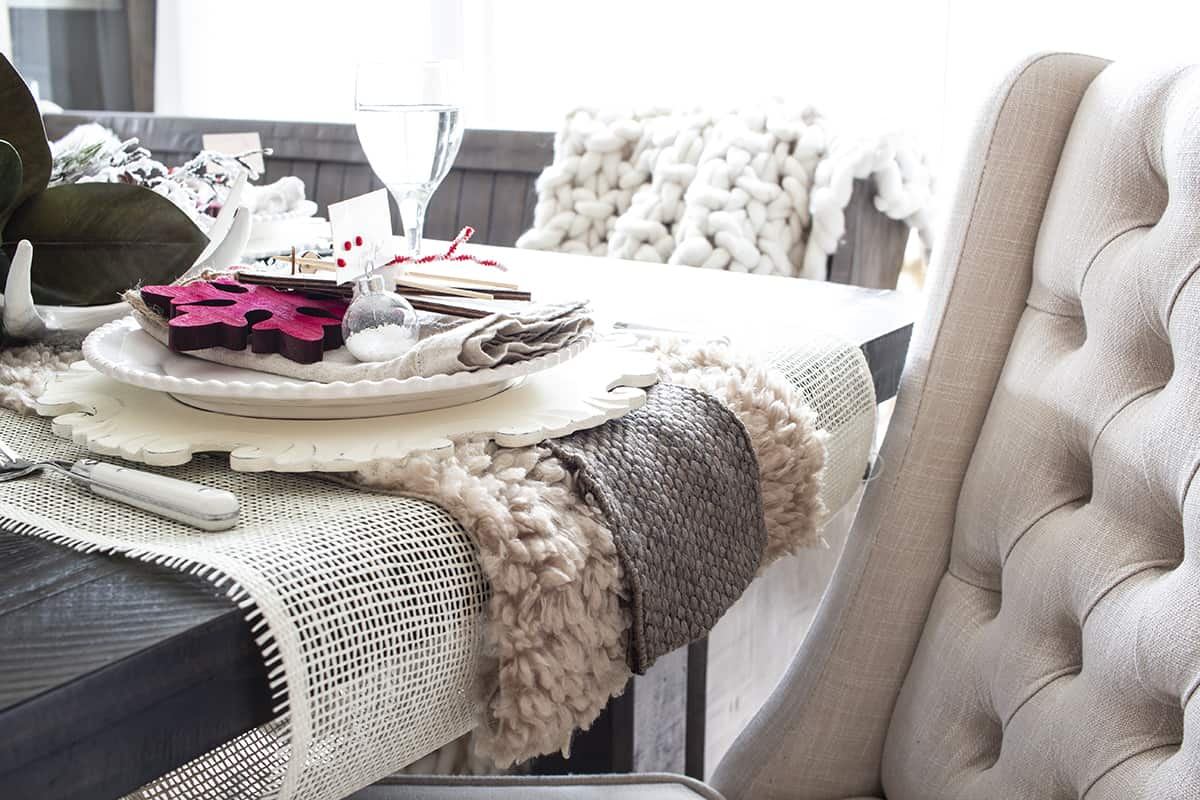 layered fur and fabric ribbon table runner