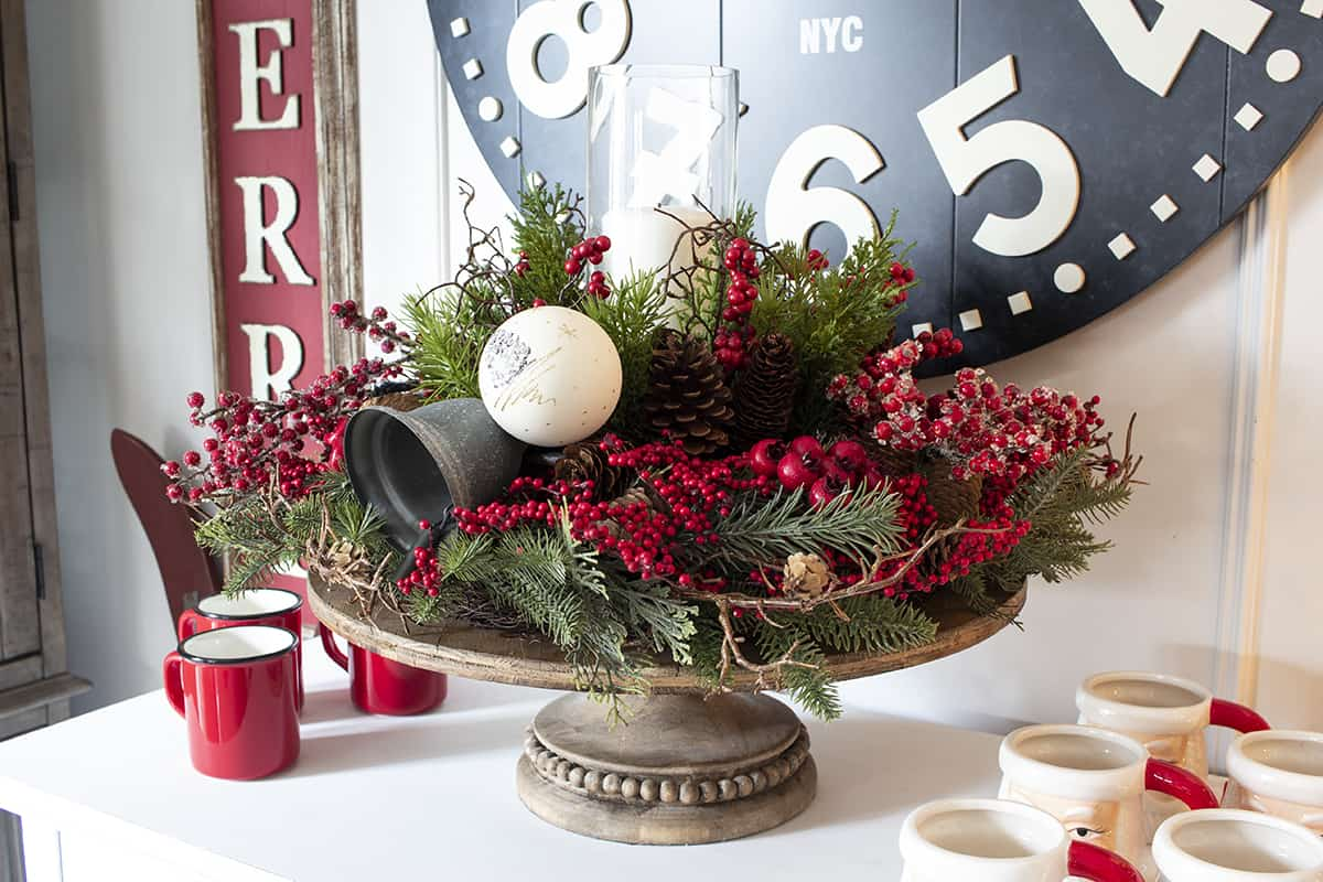 side table holiday cake stand centerpiece