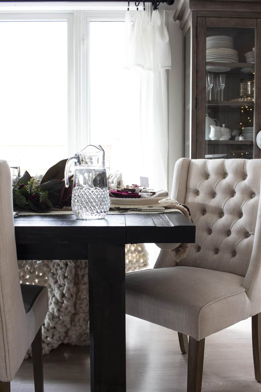 tufted linen dining chair chunky blanket holiday table
