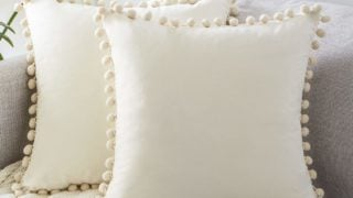 Soft Velvet Outdoor Cushion Covers 18 X 18 with Pom Poms
