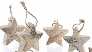 Rustic Birch Star Hanging Christmas Tree Ornaments | 12 Ornaments