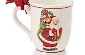 Vintage Santa with Toy Bag Ceramic Pedestal Coffee Mugs