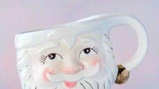 Glitterville Papa Noel Cream Christmas Vintage Santa Eyes Open Mug 
