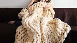 Chunky Knit Blanket Merino Wool Handmade Throw