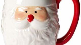 Ceramic Santa Face Embossed Mug, 20 Ounces, White/Red