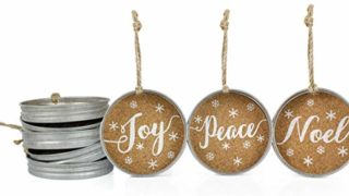 Mason Jar Lid Christmas Ornaments, Farmhouse Decor (Set of 6)