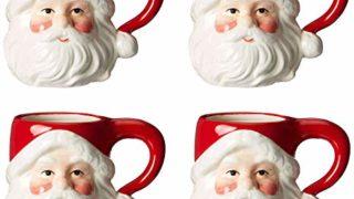 Christmas Ceramic Classic Santa Heads Beverage Drinking Mugs