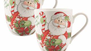 Fitz and Floyd Holiday Mug Candy Cane Santa Collection