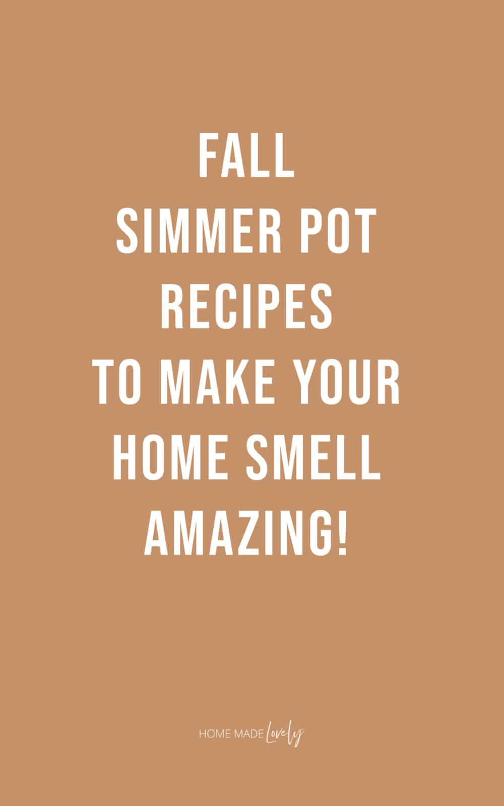 Fall Simmer Pot Recipes over light orange background