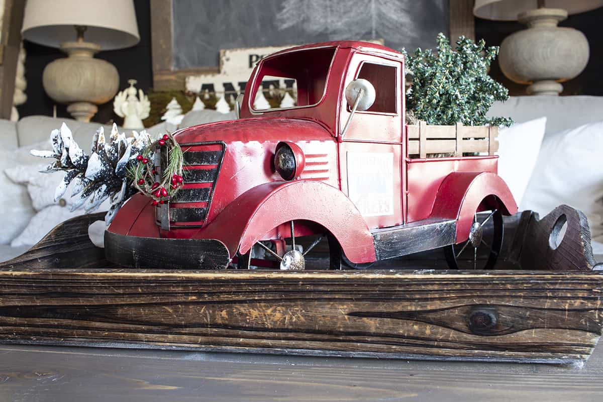 Red Christmas truck on coffee table