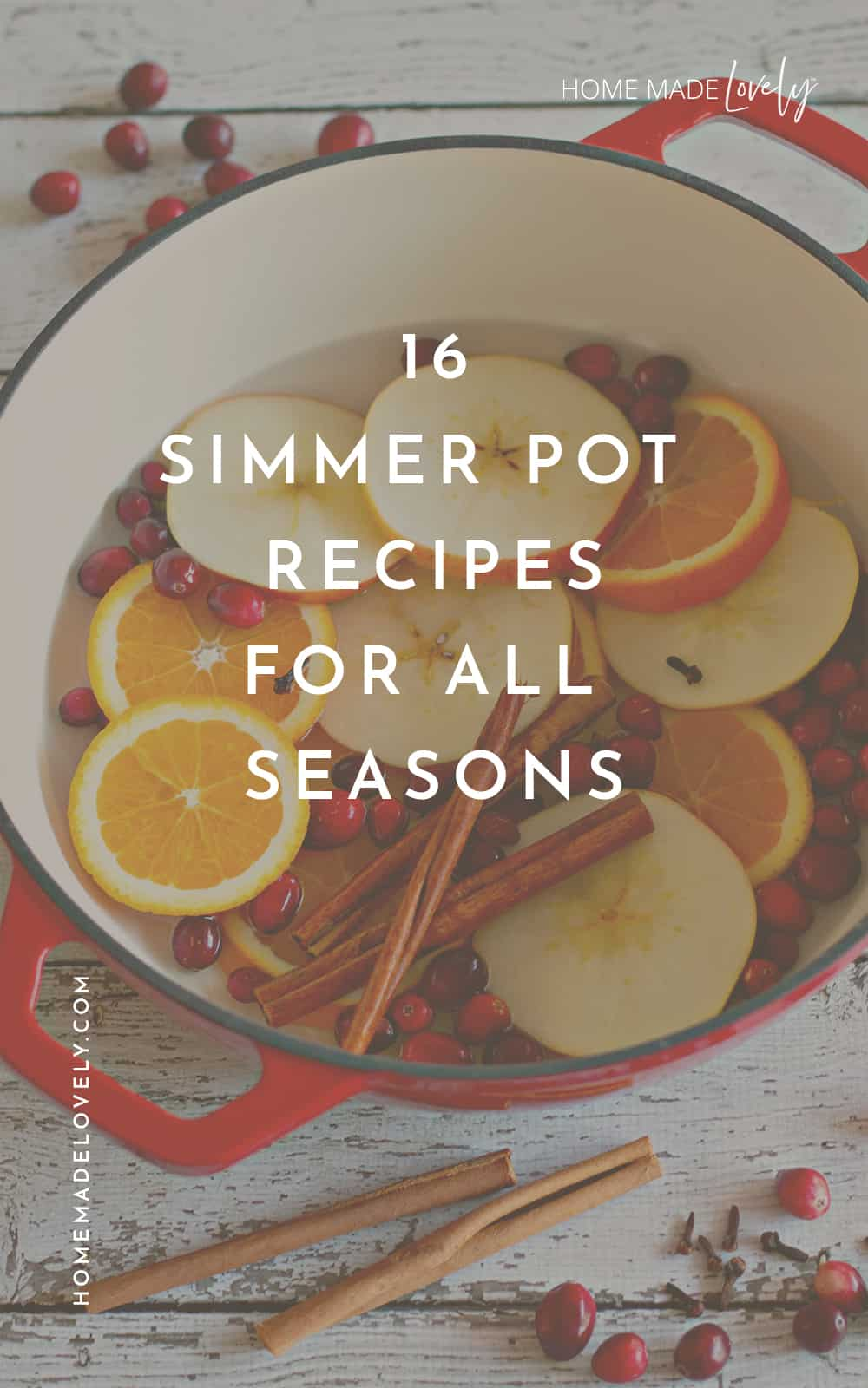 Simmer Pot Recipes and Ideas text over a pot filled with fruit slices