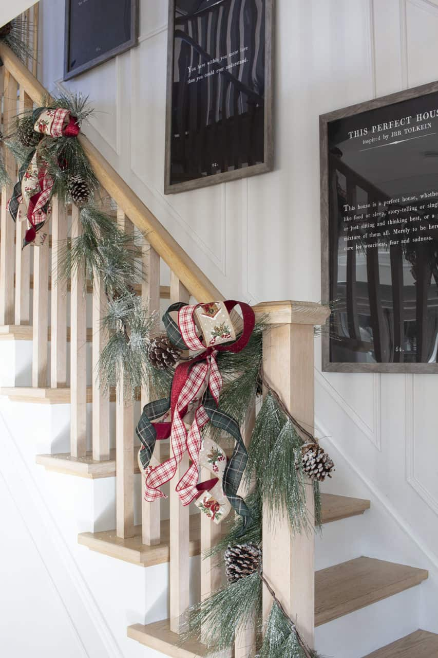 banister garland with Christmas ribbon