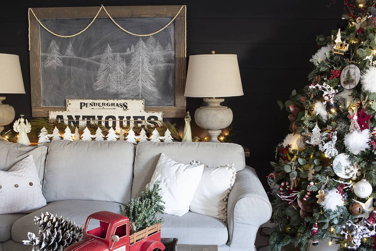black shiplap wall farmhouse Christmas