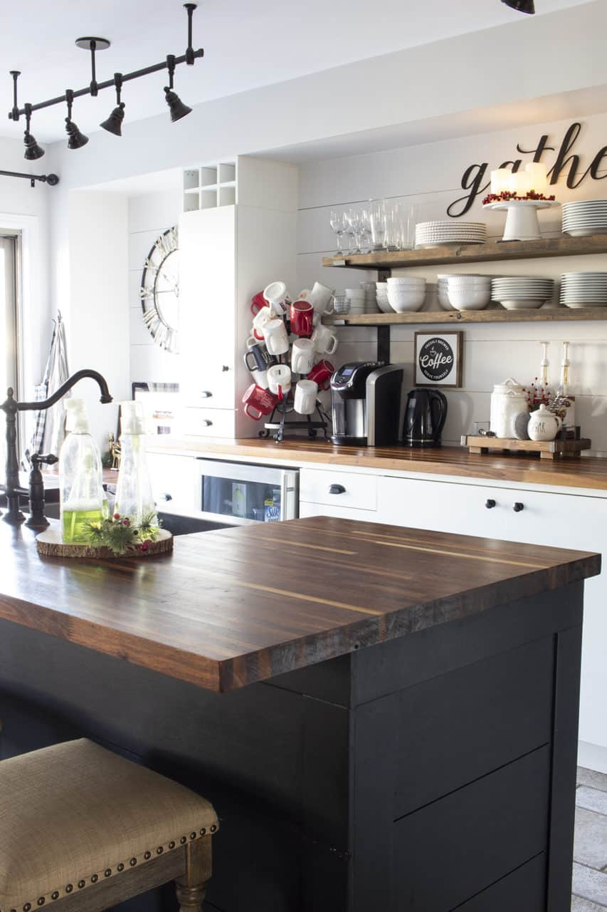 black white and wood kitchen decorated for Christmas