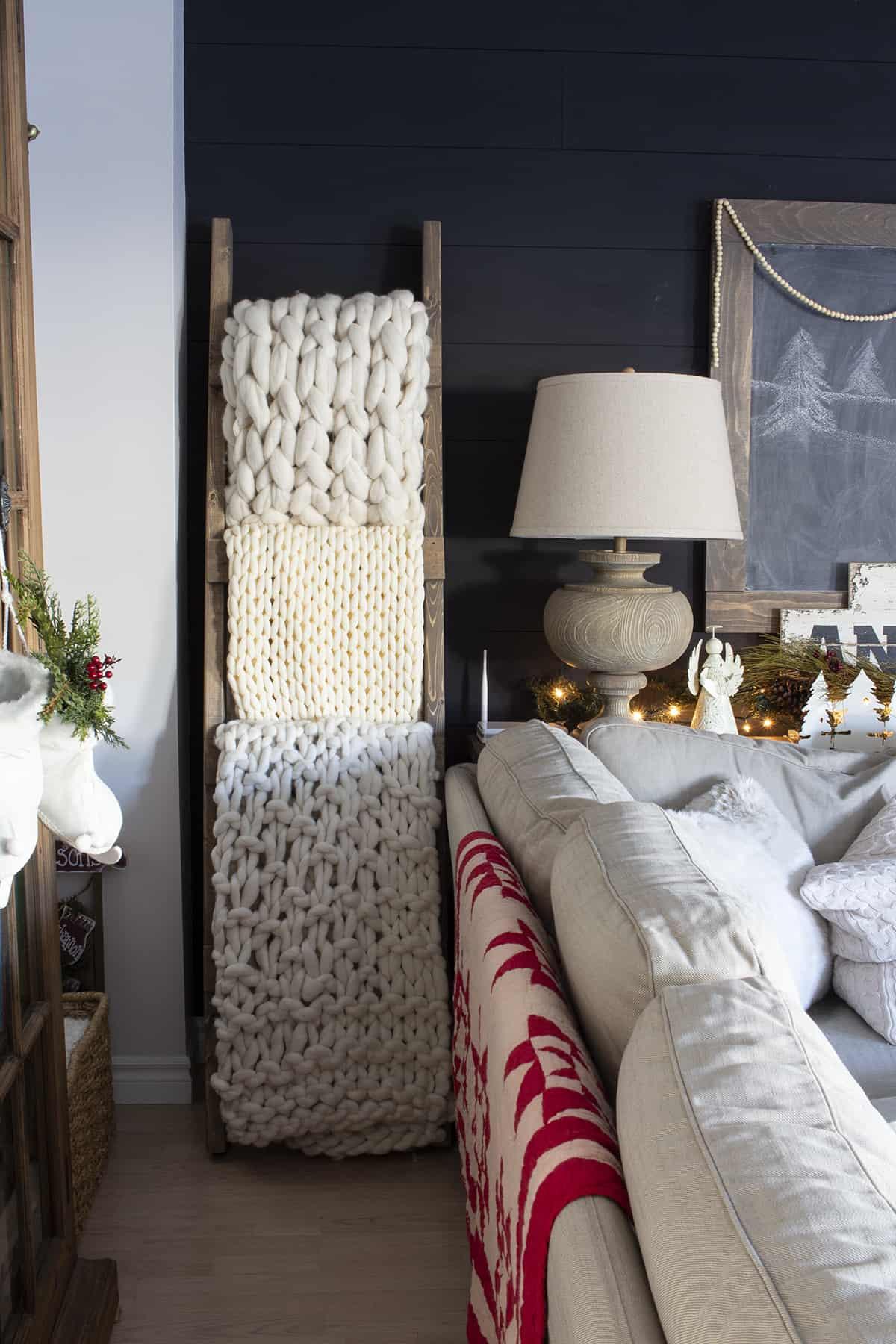 chunky knit blankets on diy blanket ladder