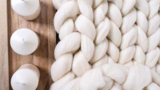 Chunky knit blanket Merino wool blanket
