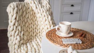 Chunky Knit Blanket, Chunky Knit Merino Wool Blanket