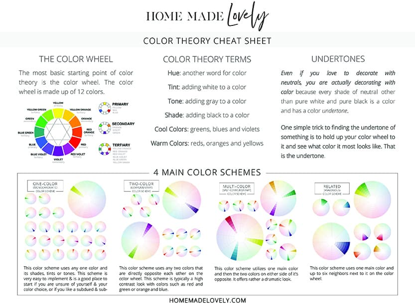 Color Theory Cheat Sheet with color schemes
