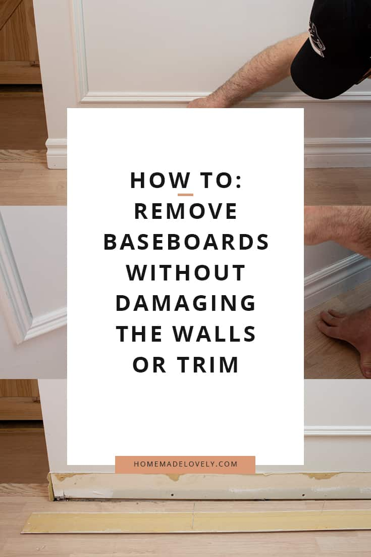 image showing how to remove floor trim without damaging the trim or the wall