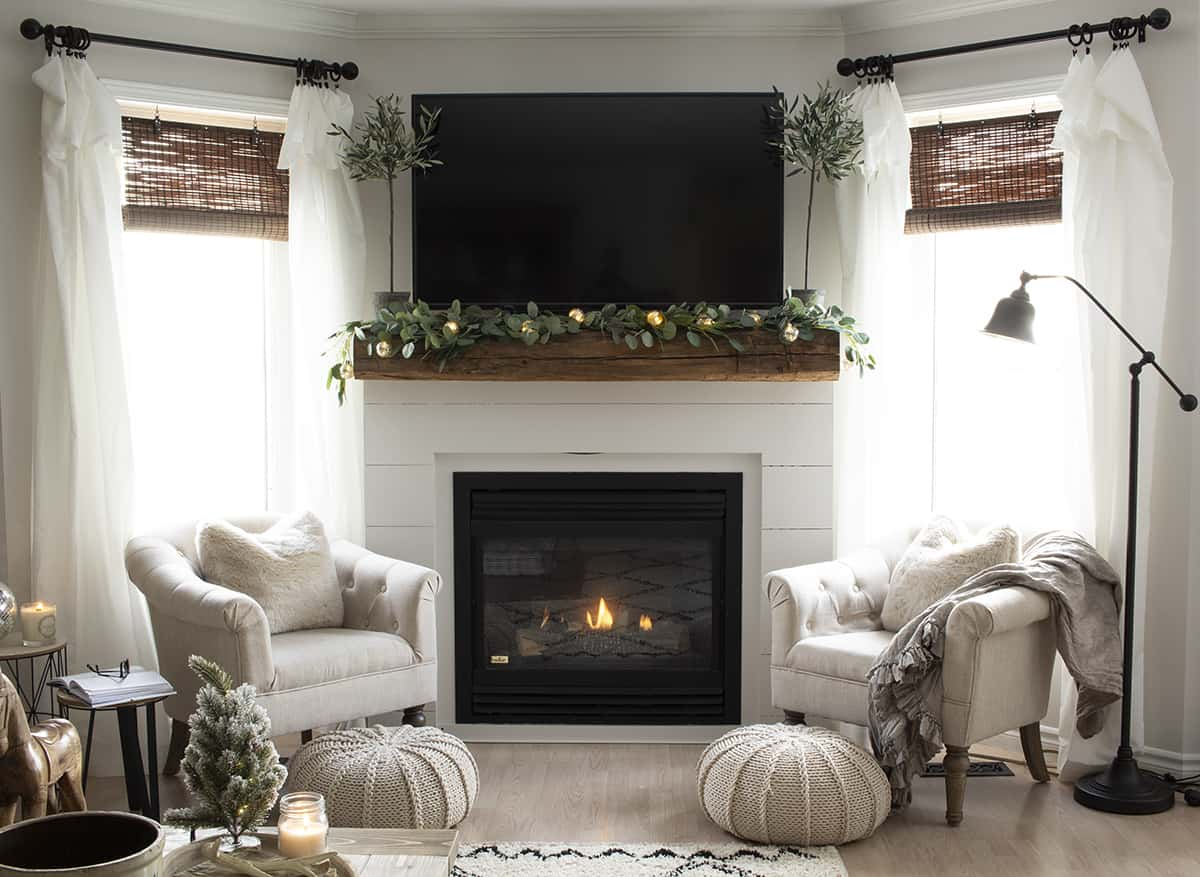 Shiplap and barn beam fireplace