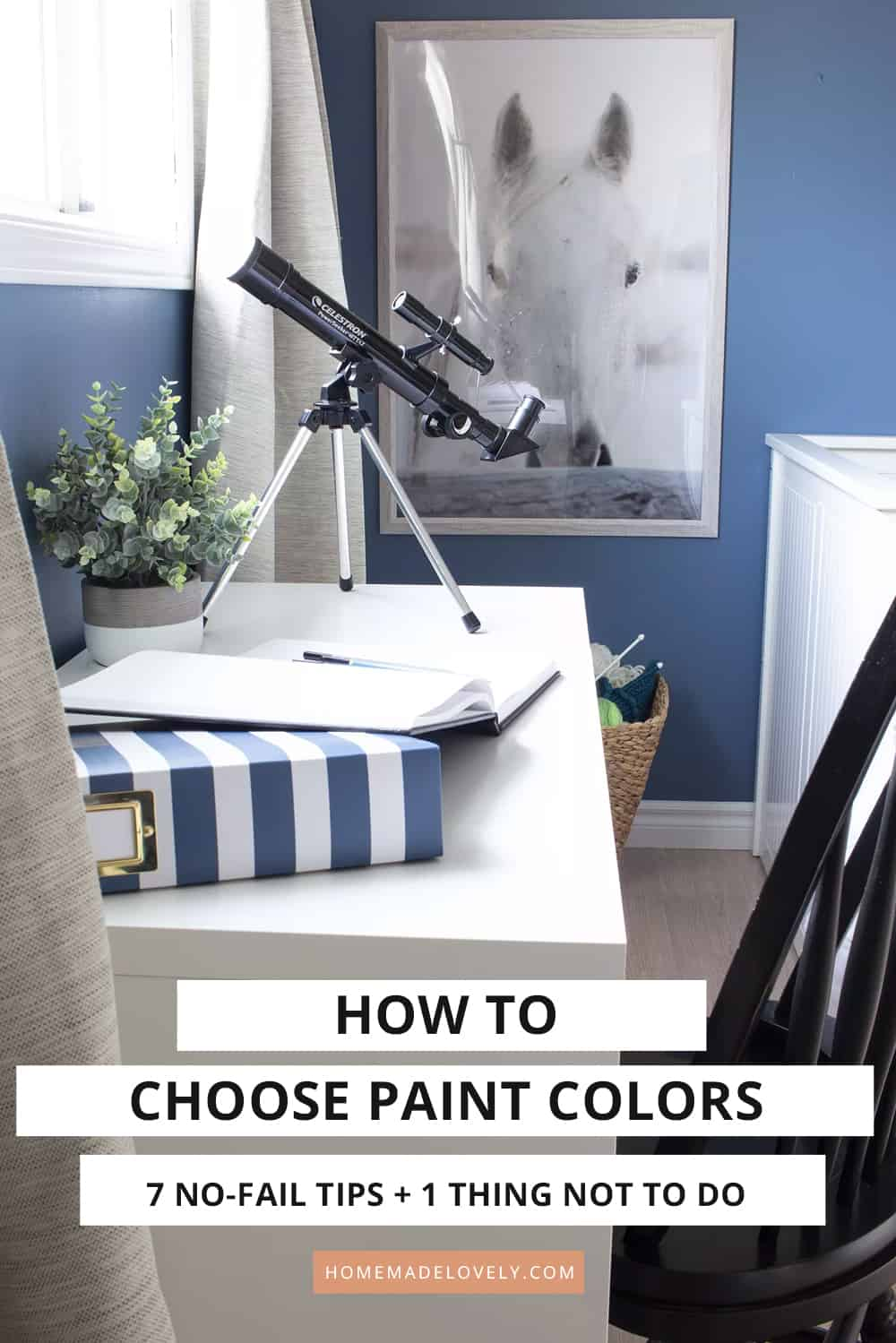 blue bedroom with desk and text overlay that says how to choose paint colors