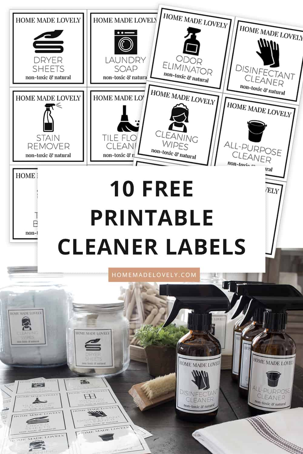 printable cleaner labels shown ready to be cut and on bottles with text overlay explaining