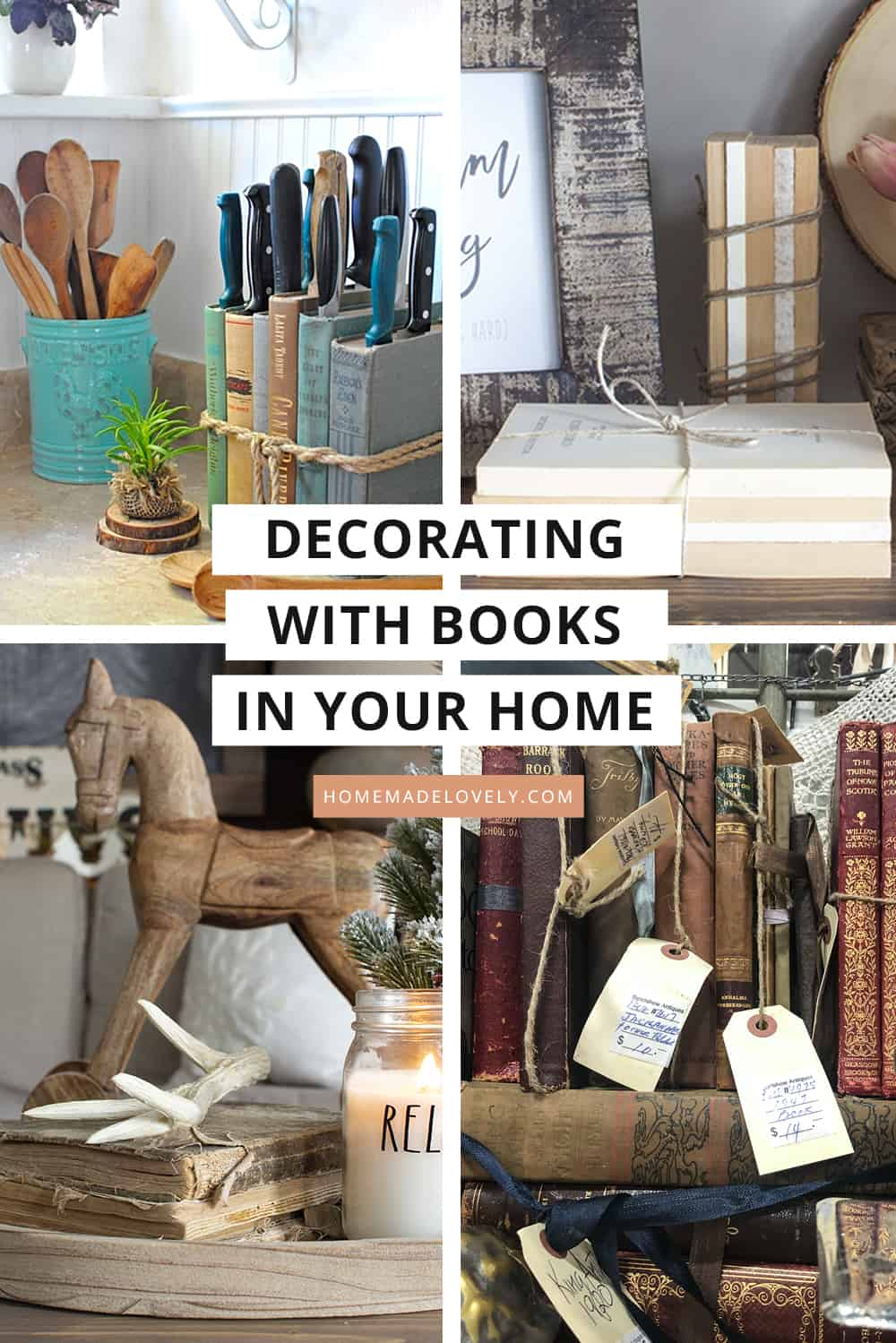four photos showing books in home decor with text overlay