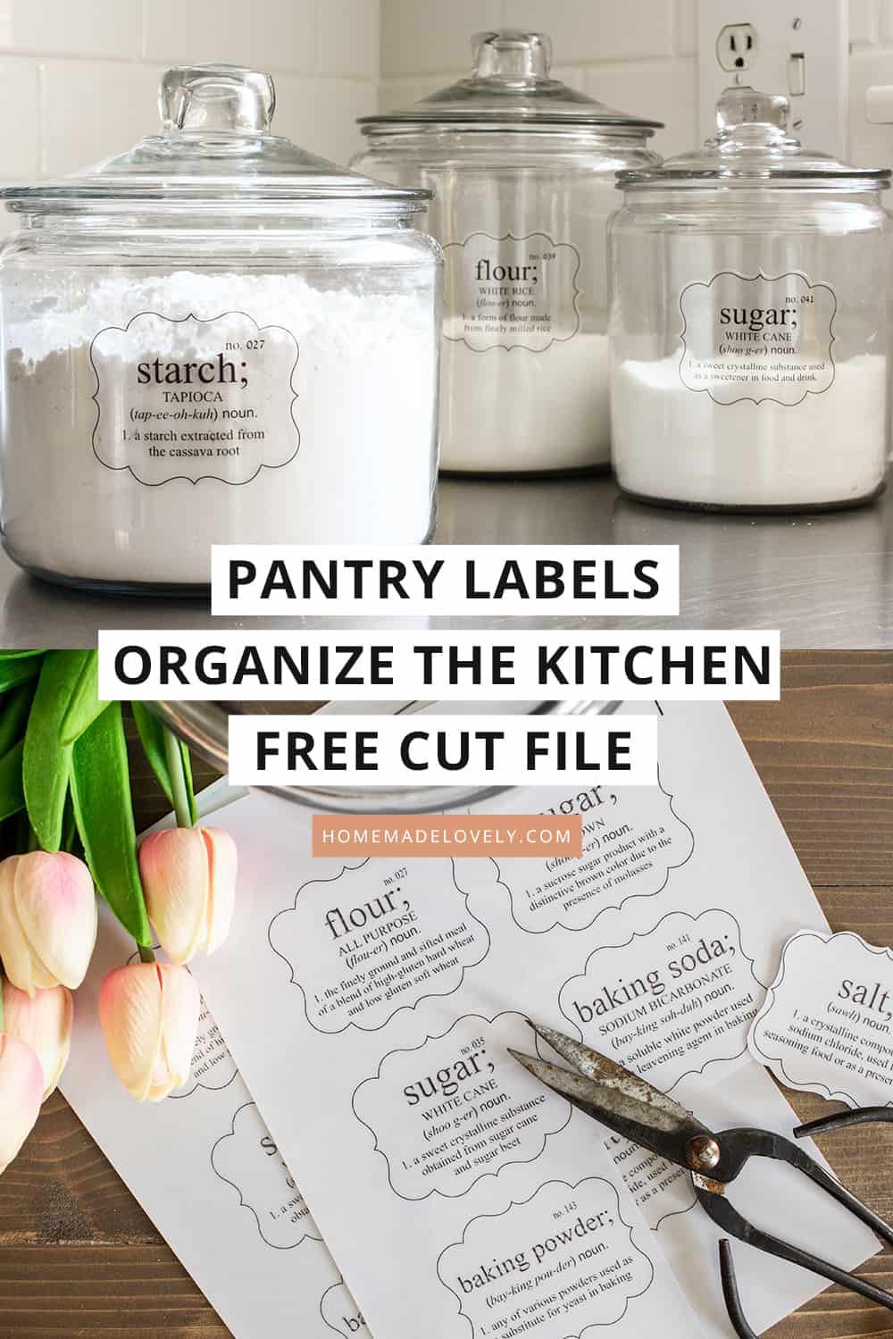 printed pantry labels and jars with labels on them