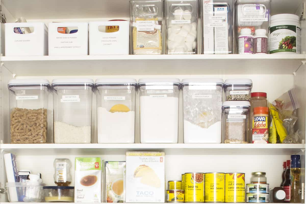 Oxo Containers with Label Maker Labels in cabinet