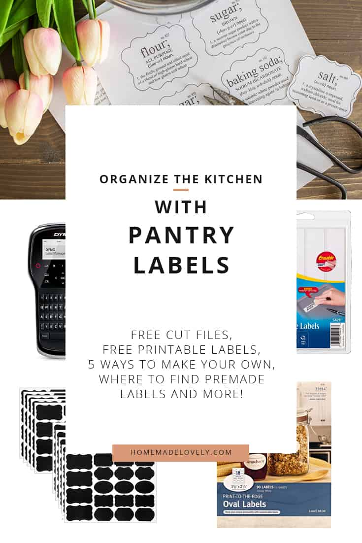 printed pantry labels with scissors, plus other labels and label maker
