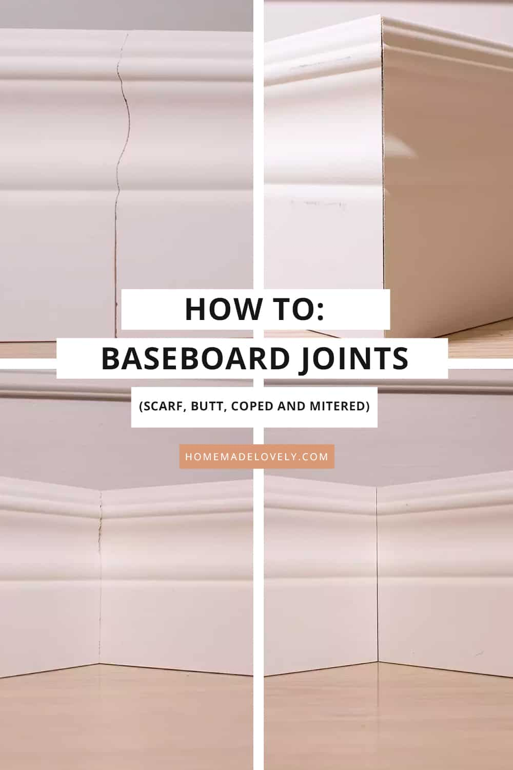 four types of baseboard cuts shown with text overlay