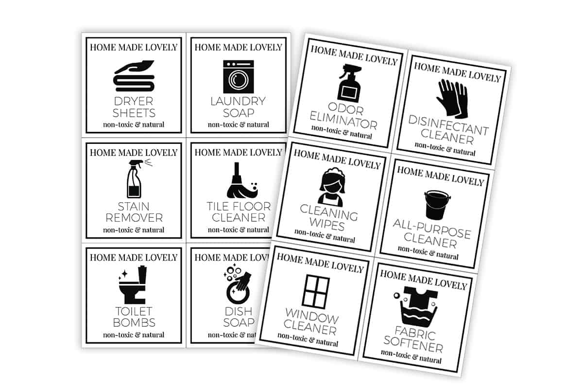 image showing free printable cleaner labels ready to cut out