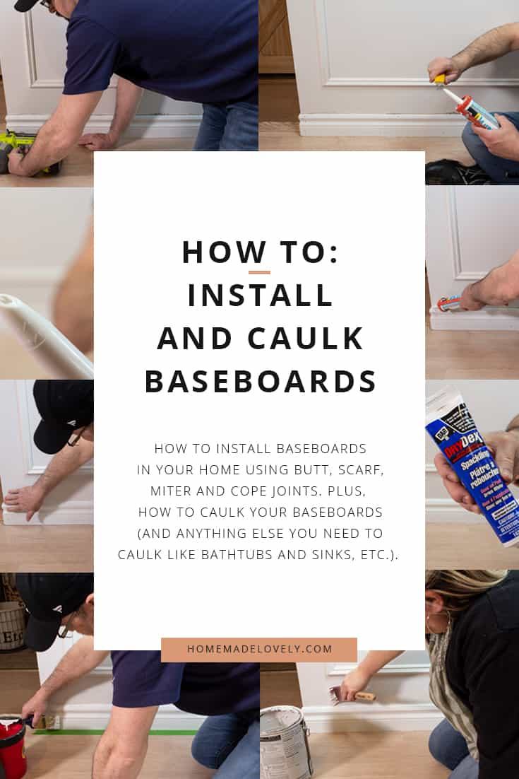8 photos showing the steps for installing baseboards with text overlay