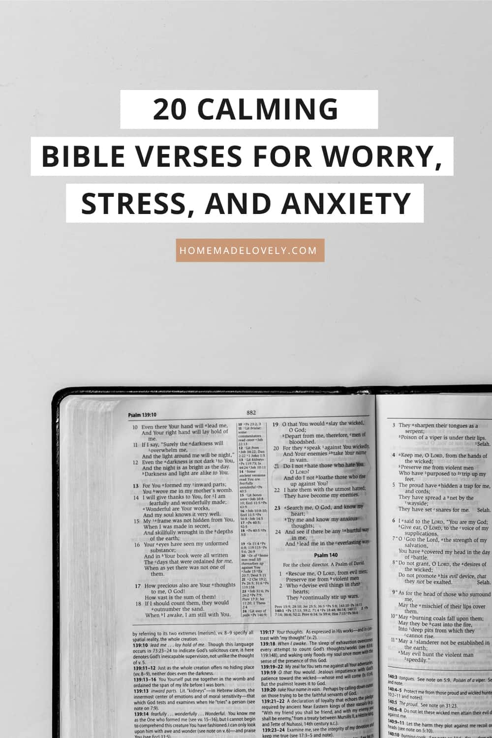 open bible with text overlay that says 20 calming bible verses for worry, stress and anxiety