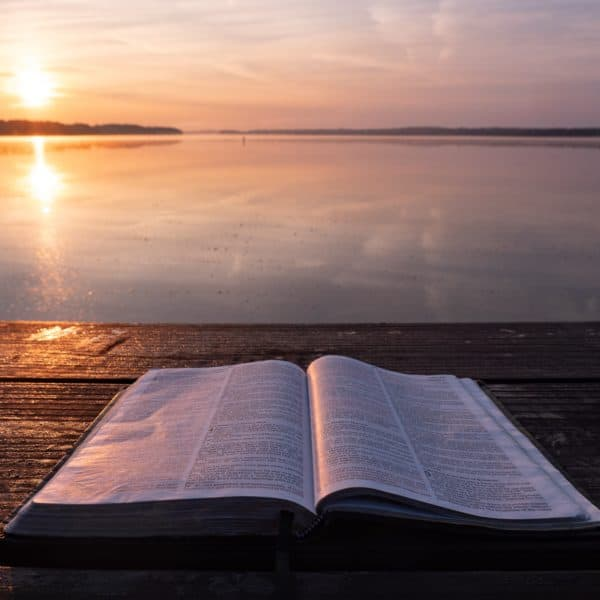 bible open on the beach