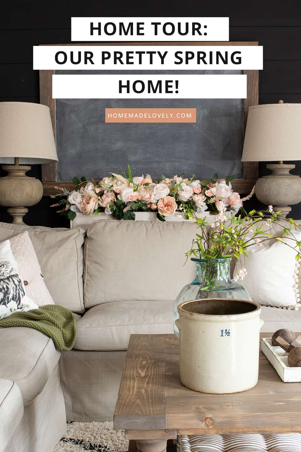 tan couch with pink floral arrangement with text overlay
