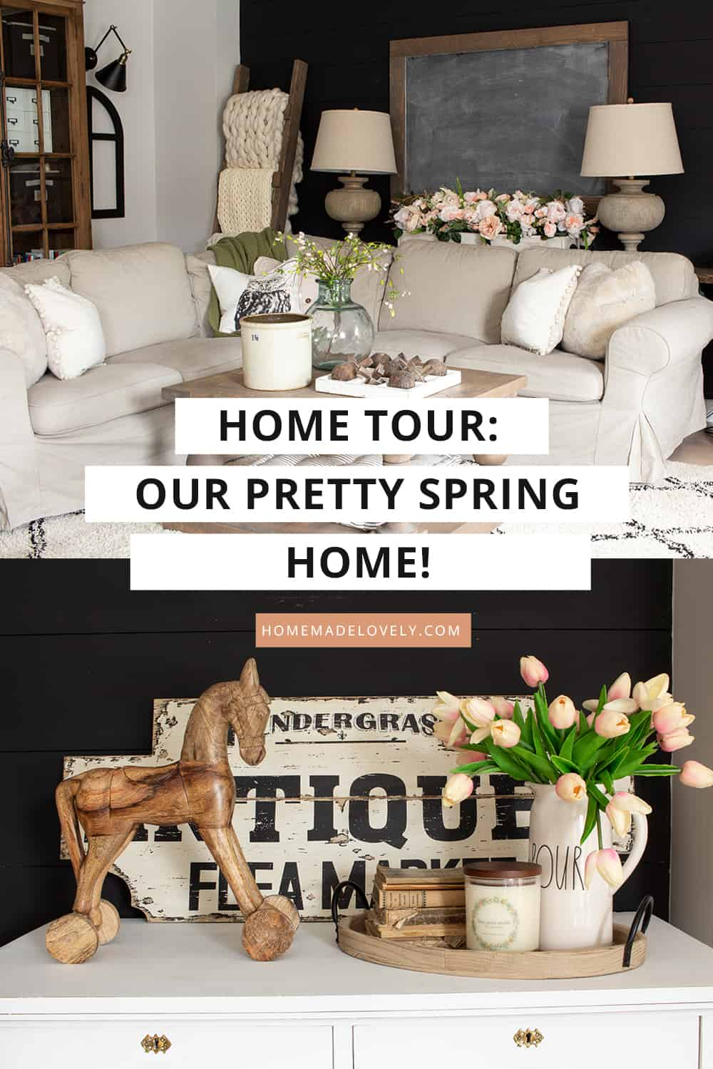 neutral black and blush pink living room decorated for spring