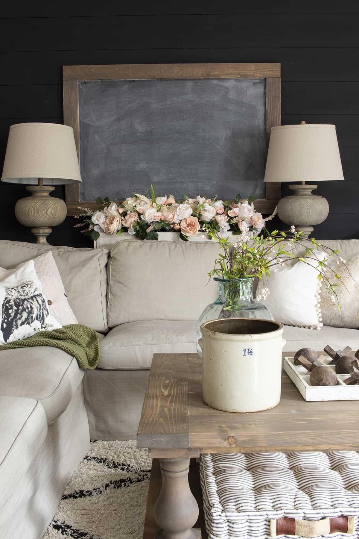 spring couch with faux florals