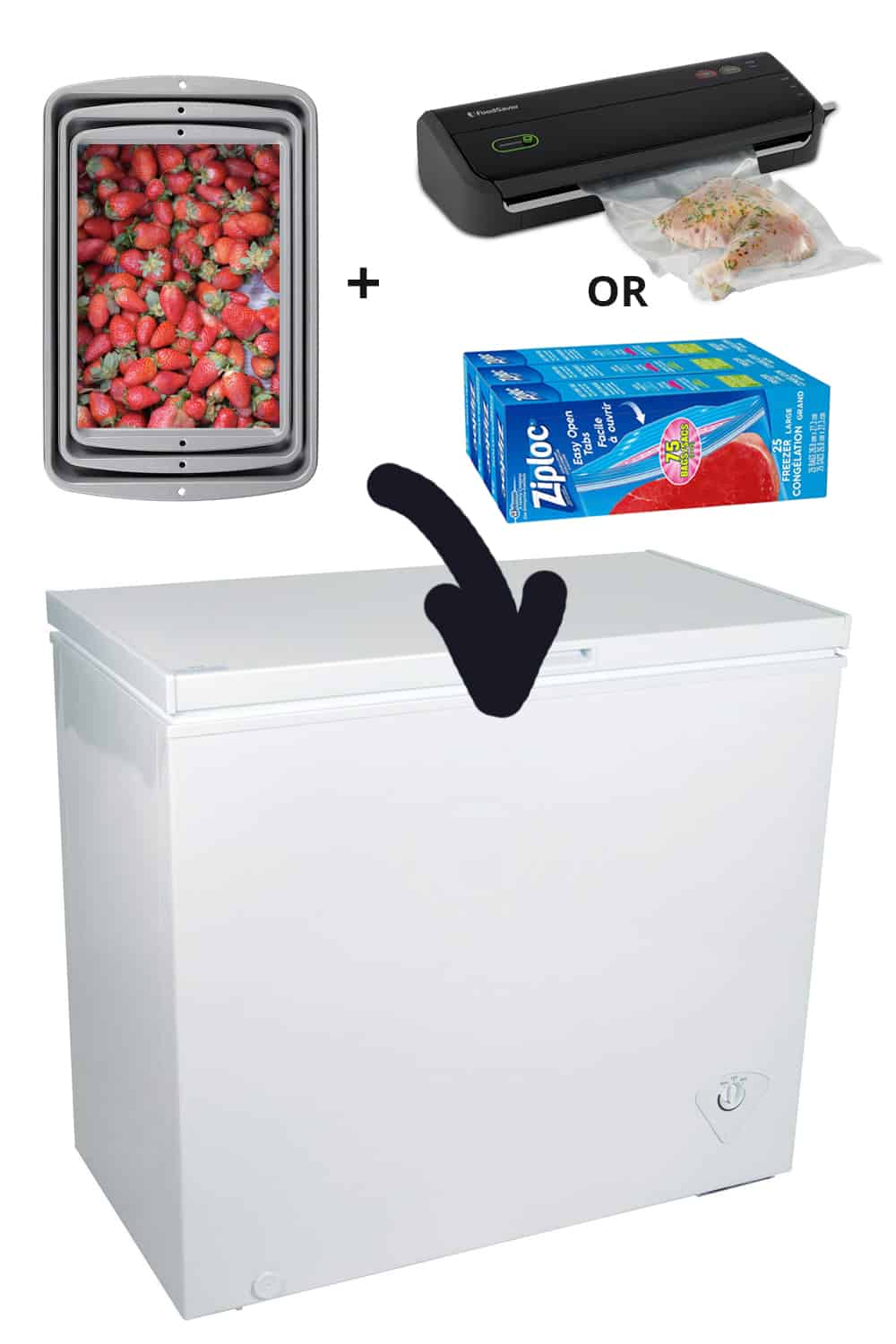 supplies for freezing fruits and veggies
