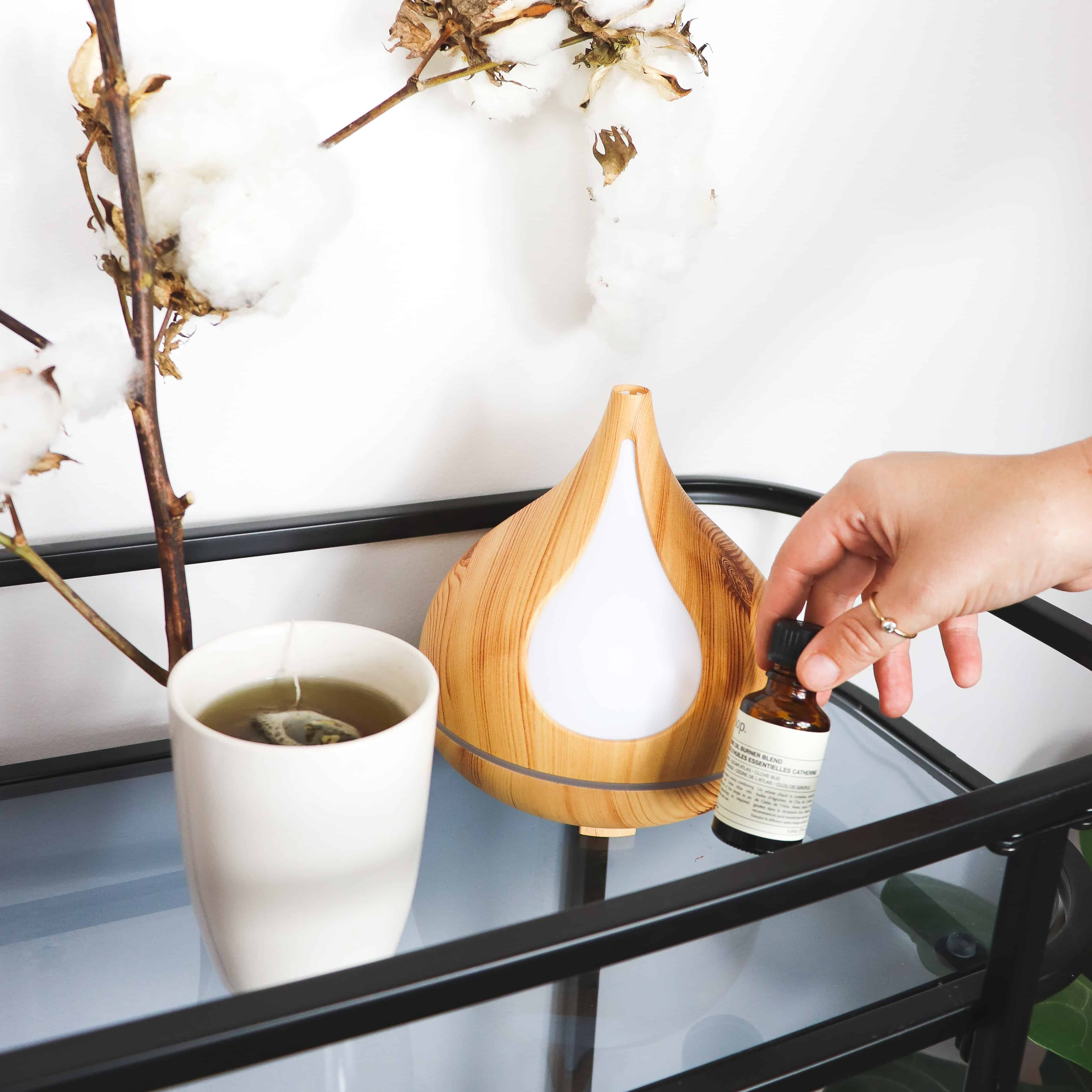 essential oil diffuser on rolling cart