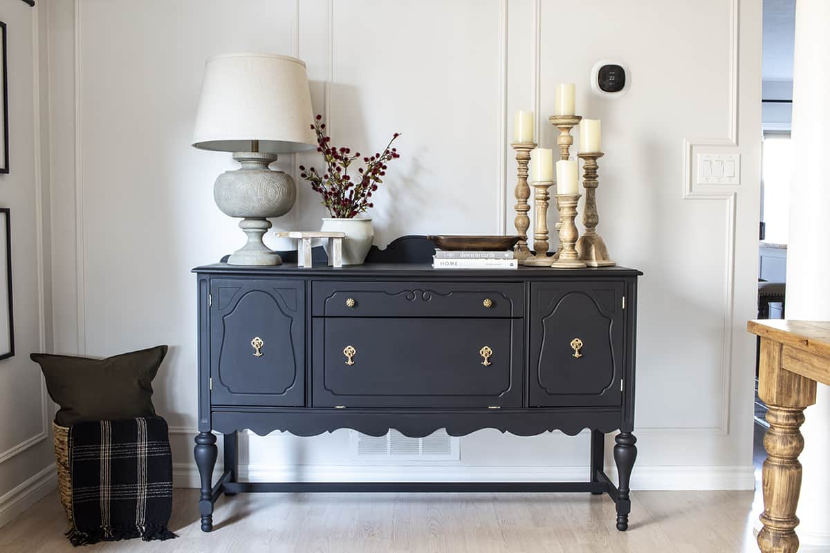 dining room with painted black buffet