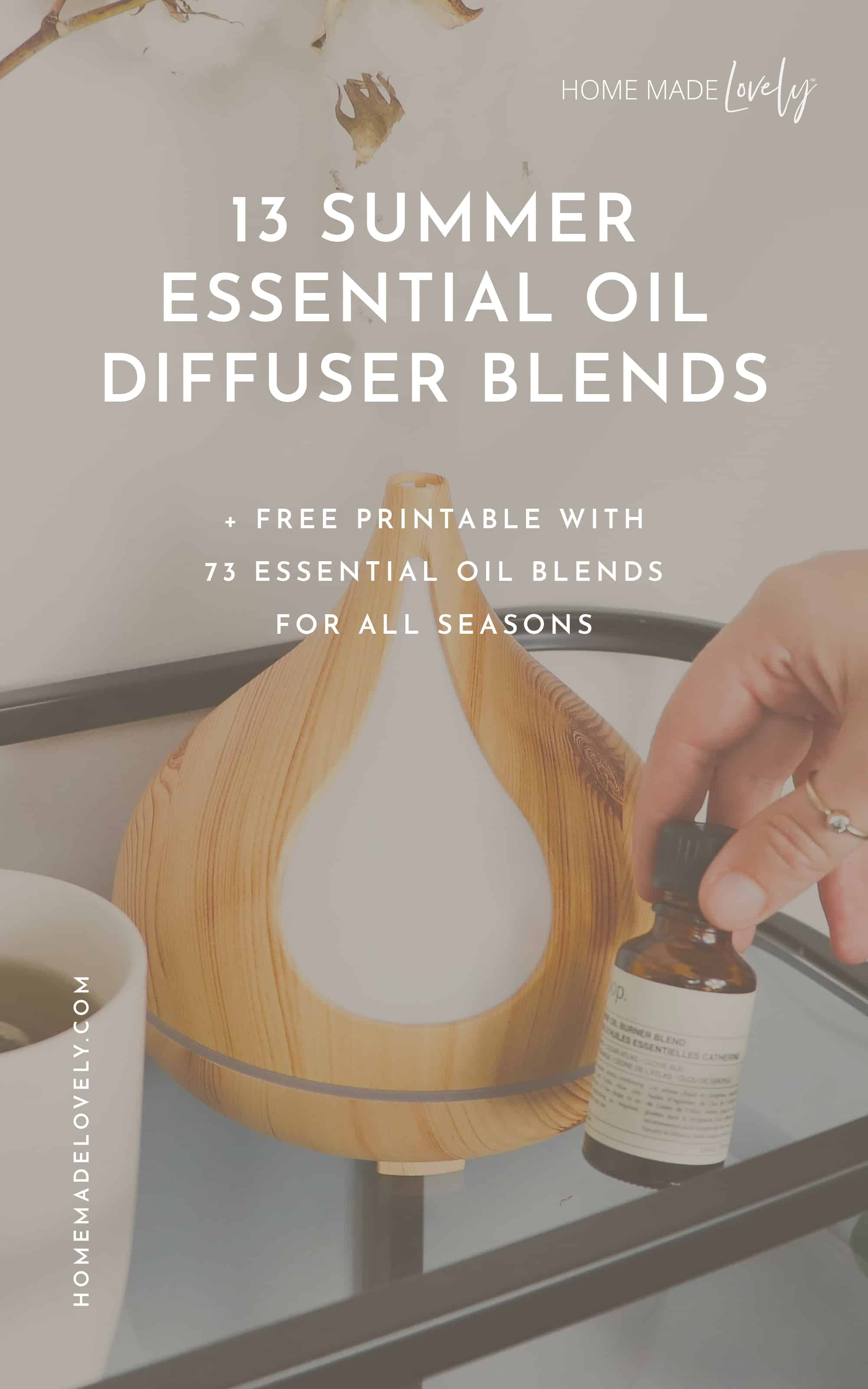 essential oil diffuser on cart with text overlay that says 13 summer essential oil diffuser blends
