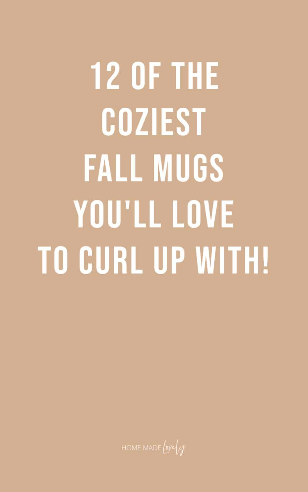 12 of the coziest fall mugs white text on muted orange background