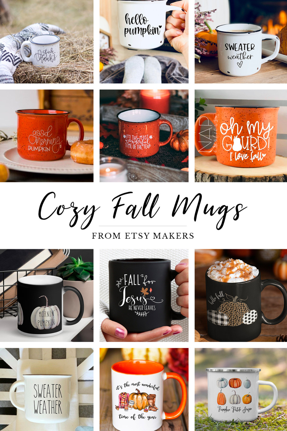 cozy fall mugs in a grid with text describing