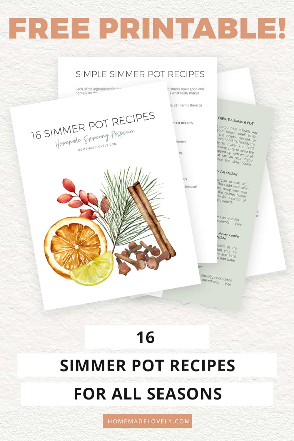 simmer pot recipes free printable